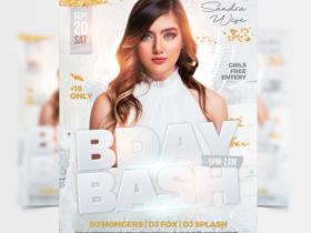White Birthday Bash Free Flyer Template (PSD)