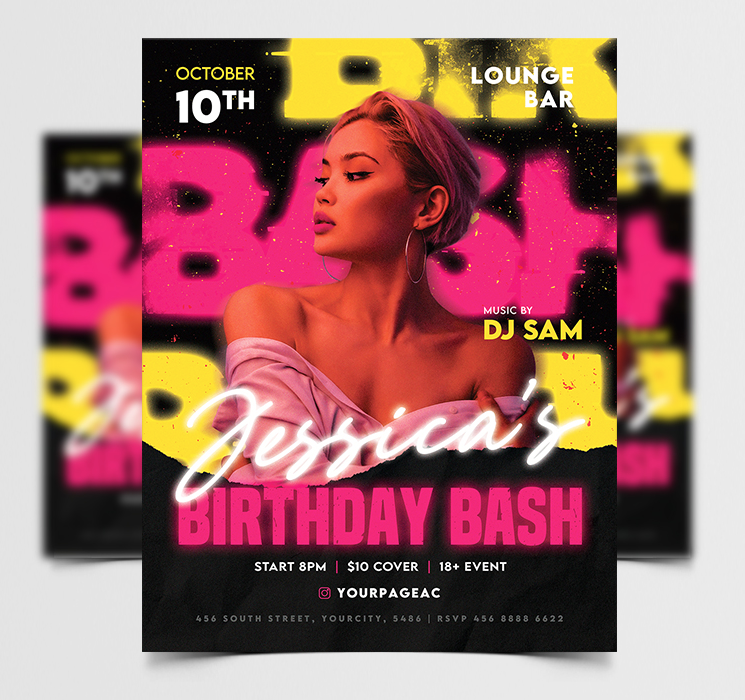 Birthday Ladies Party Free Flyer Template (PSD)