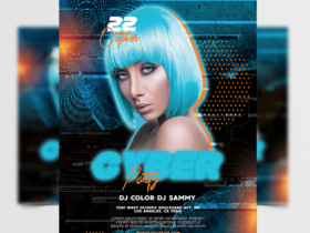 Cyber Night Party Free Flyer Template (PSD)
