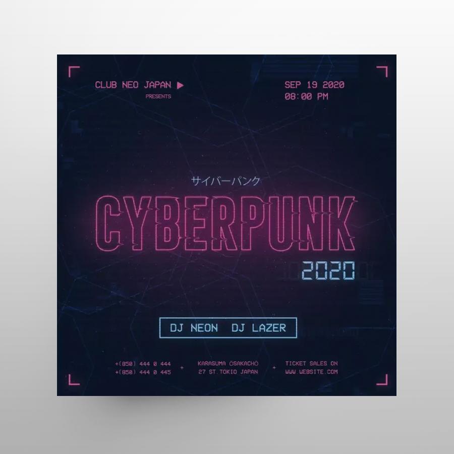 Cyberpunk Party Free Instagram Post Template (PSD)