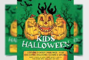 Free Kids Halloween Party Flyer Template (PSD)