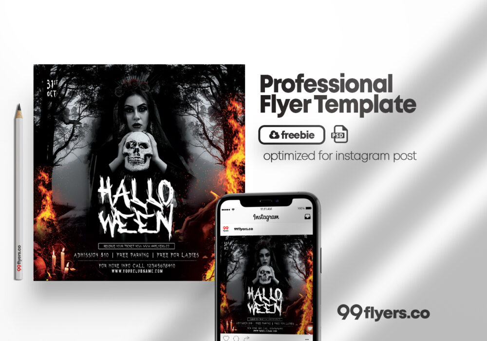 Halloween Scary Party Free Flyer Template (PSD)