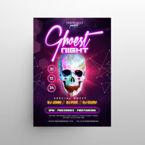 Halloween Skull Party Free Flyer Template (PSD)