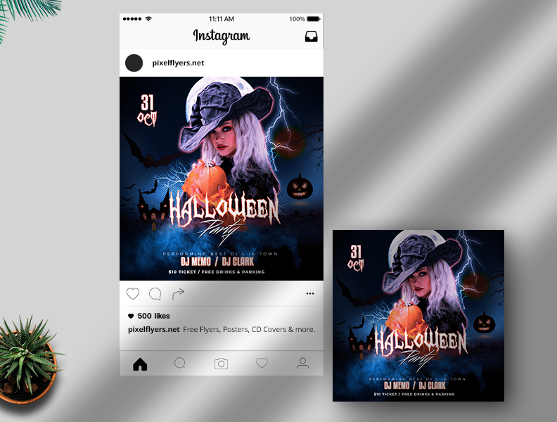 Halloween Vibe Party Free Instagram Banner (PSD)