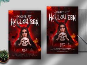 Halloween Witch Party Free Flyer Template (PSD)