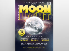 Moon Party Free Flyer Template (PSD)