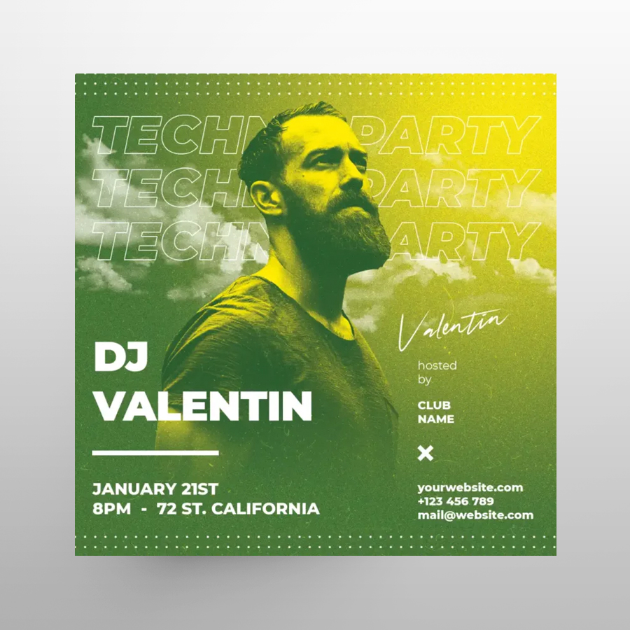 Techno Club Party Free Instagram Post Template (PSD)