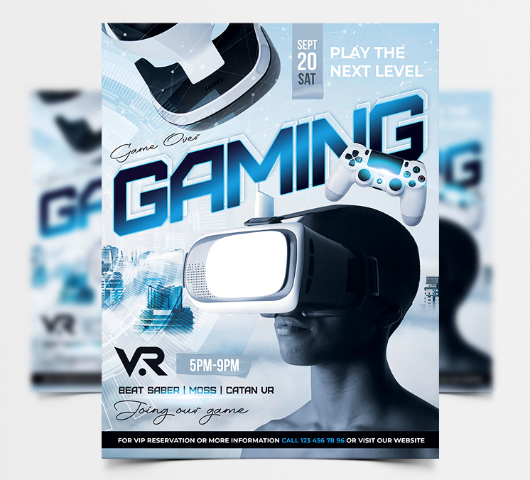 VR Game Night Free PSD Flyer Template