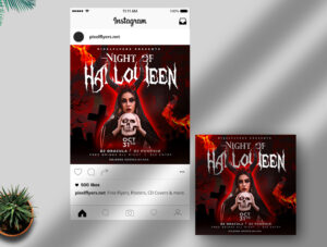 Witch Halloween Party Free Instagram Banner (PSD)